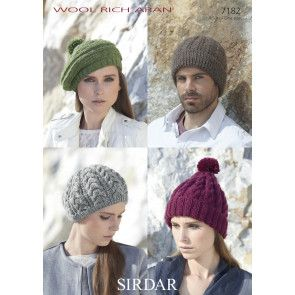 Hats in Sirdar Wool Rich Aran (7182)