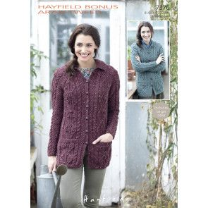 Cardigans in Hayfield Bonus Aran Tweed (7370)