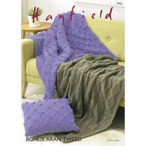 Blankets and Cushion Cover in Hayfield Bonus Aran Tweed (7792)