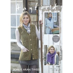 Waistcoat and Scarf in Hayfield Bonus Aran Tweed (7797)