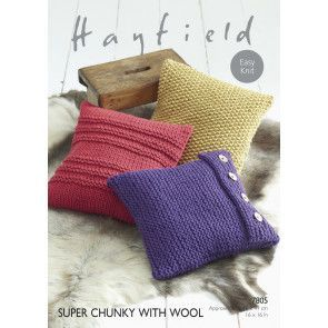 Cushion Covers in Hayfield Super Chunky with Wool (7805)