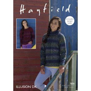 Women's Sweater in Hayfield Illusion DK (7858)