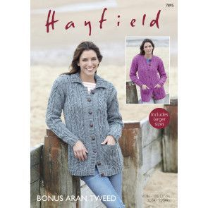 Cardigans in Hayfield Bonus Aran Tweed (7895)