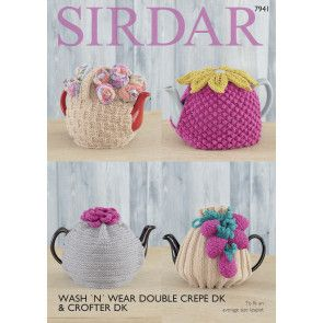 Tea Cosies in Sirdar Wash 'N' Wear Double Crepe DK (7941)