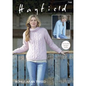 Sweaters in Hayfield Bonus Aran Tweed (7988)