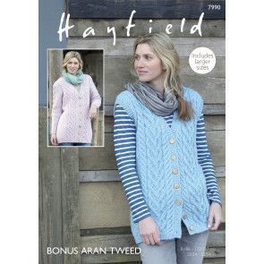 Waistcoat and Jacket in Hayfield Bonus Aran Tweed (7990)