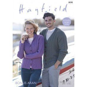 V Neck and Shawl Collar Cardigans in Hayfield Bonus Aran (8098)