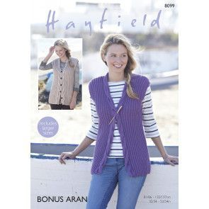 Woman's Waistcoats in Hayfield Bonus Aran (8099)