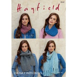 Snoods and Scarves in Hayfield Chunky with Wool (8163)
