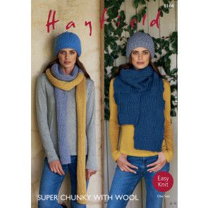 Hat and Scarves in Hayfield Super Chunky with Wool (8164)