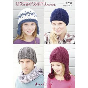 Hats in Hayfield Super Chunky with Wool (9750)