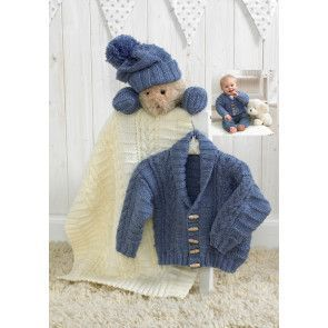 Jacket, Hat, Mittens and Blanket in Stylecraft Baby Aran (4854)