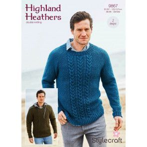 Round and V Neck Sweaters in Stylecraft Highland Heathers DK (9867)