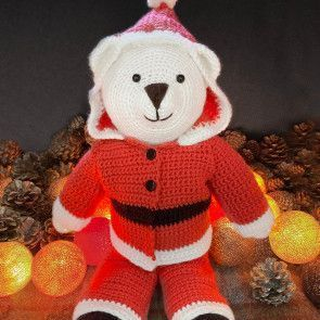 Bo Bear Santa Suit in West Yorkshire Spinners Bo Peep DK Pattern