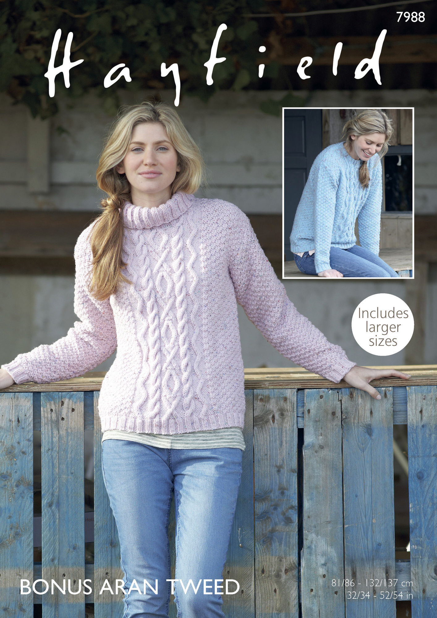 Ladies Sweater in Hayfield Bonus Aran Tweed