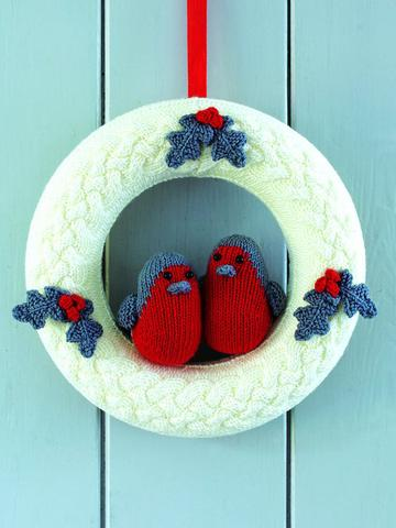 Robin Christmas Wreath Knitting Pattern