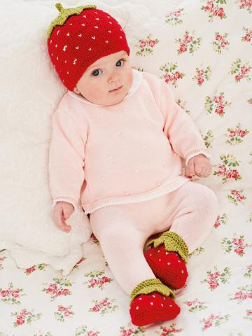 Strawberry Baby Hat And Booties Knitting Pattern